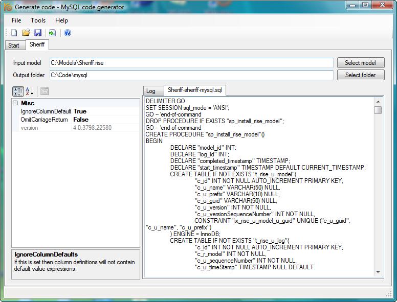 Windows 7 RISE MySQL code generator 4.4 full