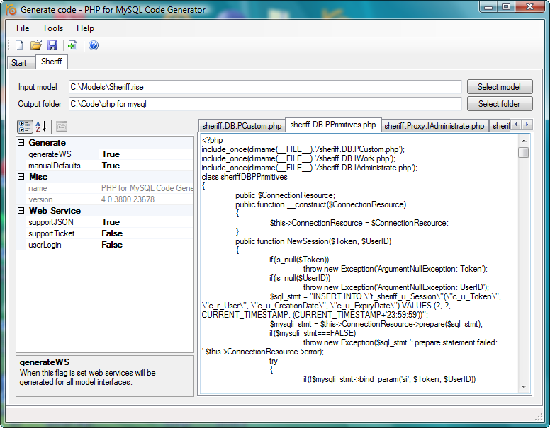RISE PHP for MySQL code generator