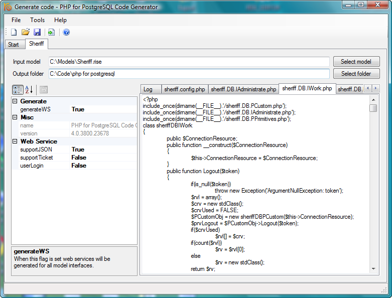 Windows 7 RISE PHP for PostgreSQL code generator 4.4 full