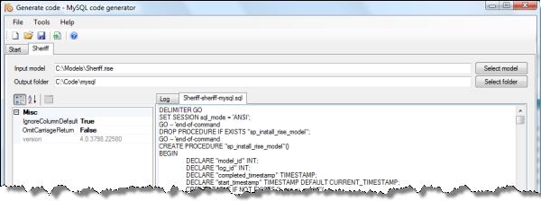 MySQL code generator