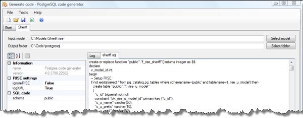PostgreSQL code generator
